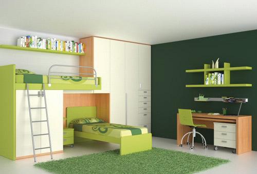 Mobilier camera copil realizat din pal melmainat, finisaje alb, verde ...